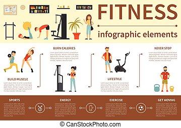 Fitness infographic flat vector illustration. Presentation Concept