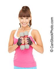 fitness instructeur, met, dumbbells
