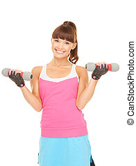 fitness instructeur, met, dumbbells
