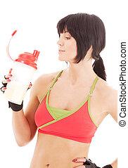 fitness instructeur, met, proteine verwiken