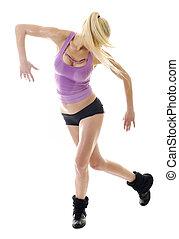 fitness, isolé, femme