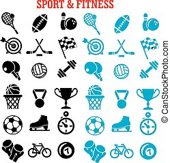 fitness, items, set, sportende, iconen