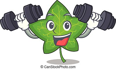 Fitness ivy leaf isolated on character cartoon