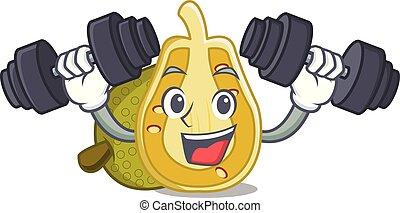 Fitness jackfruit character cartoon style vector...