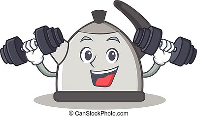 Fitness kettle character cartoon style vector illustration
