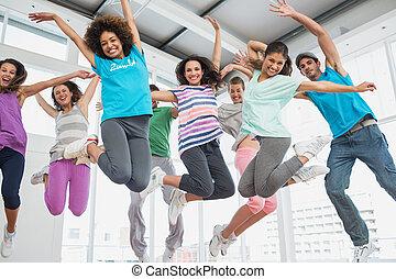fitness klasse, og, instruktør, gør, pilates, udøvelse