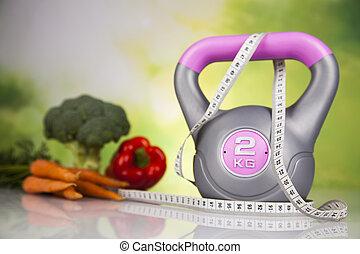 fitness, kost, och, vitamins, begrepp