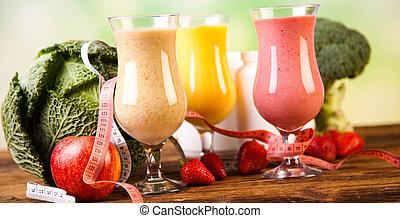 fitness, kost, vitamins, hälsosam, och, frisk