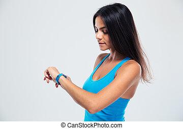 fitness, kvinna, användande, fitness, förföljare