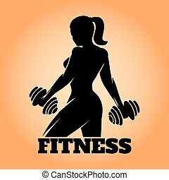 fitness, kvinna, emblem