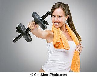 fitness, kvinnor, visande, dig, hantel