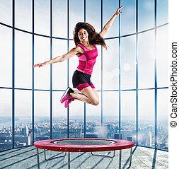 fitness, lärare, hopp, hos, den, nymodig, gymnastiksal