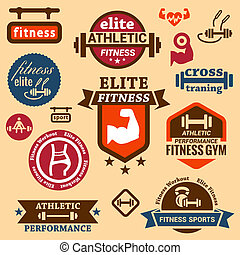 fitness labels - Elegant Fitness and Sport Vector Labels and...