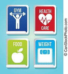fitness labels over blue bacgkround. vector illustration
