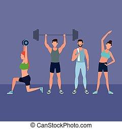 fitness, leute, machen, übung