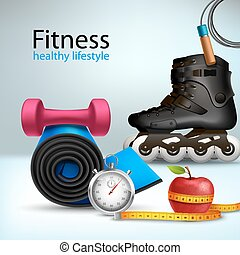 Fitness sport and healthy lifestyle background with roller skates apple jumping rope vector illustration