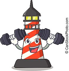 Fitness lighthouse character cartoon style