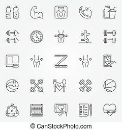 fitness, ligne, icônes, ensemble