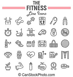 Fitness line icon set, sport symbols collection, vector...