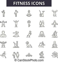 Fitness line icons, signs set, vector. Fitness outline concept, illustration: gym, diet, fitness, weight, exercise, muscle, sport
