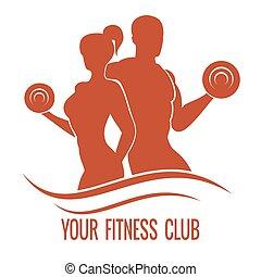 fitness, logo, med, muscled, herre och kvinna, silhouettes