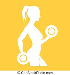 Fitness logo woman silhouette - biceps, slim, club, power,...