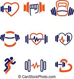 Fitness logos, set, vector.