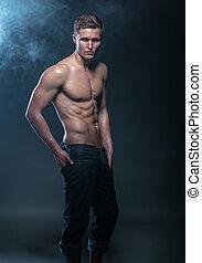 fitness, mâle, modèle