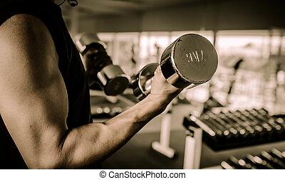fitness, -, mäktig, muskulös, herre lyftande vikt