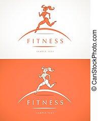 fitness, m�dchen, etikett