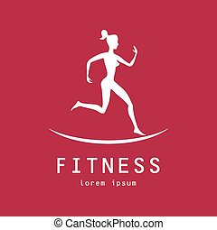 fitness, m�dchen, etikett, -, vektor, abbildung