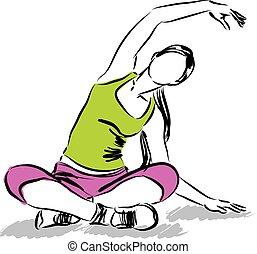 fitness, m�dchen, illustration.eps