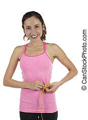 fitness, m�dchen, mit, a, maß, band, für, gewichtsverlust, begriff