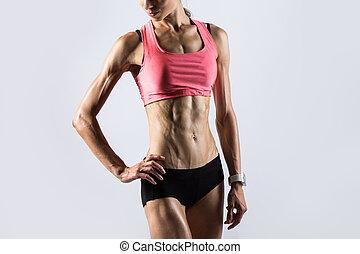 fitness, m�dchen, mit, ideal, koerper
