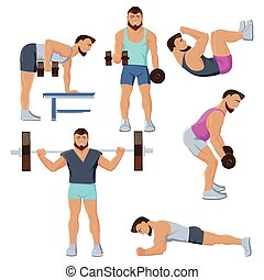 Fitness Male Characters Set - Isolated set of male fitness...