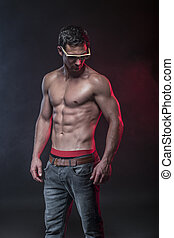 fitness male model - Portrait of a muscular male model...