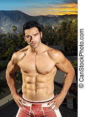 Fitness male - Very fit male muscular model with exotic...