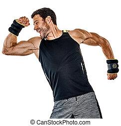 fitness man cardio boxing exercises isolated
