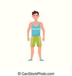 Fitness man character, man choosing healthy lifestyle vector Illustration on a white background