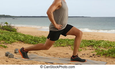 Fitness man doing Pulse Lunges exercise. Male fitness model ...