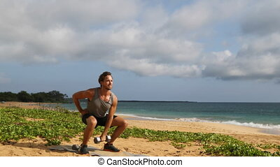 Fitness man exercising on beach doing Squat with Overhead ...
