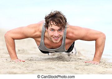 fitness man exercising push ups