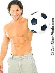 Fitness Man Holding Soccer Ball