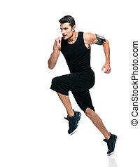 fitness, man lopend, vrijstaand