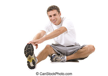 Fitness - Man on a white background in a fitness pose.