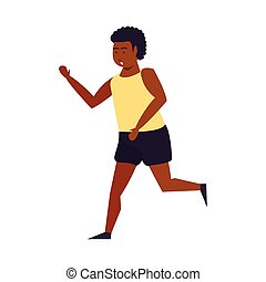 Fitness man running isolated cartoon
