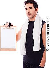 Fitness Man showing a blank clip board