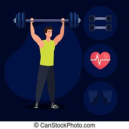 fitness man with weight and healthy exercise