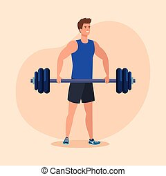 fitness man with weight to healthy exercise