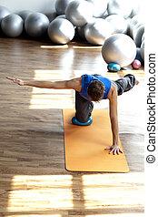 fitness, -, mann, üben, pilates